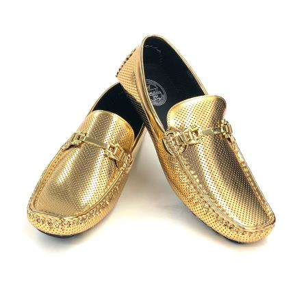 Amali Shiny Gold Loafer