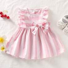 Baby Maedchen A Linie Kleid mit Streifen, Rueschenbesatz und grosser Schleife