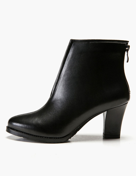 Milanoo Solid Color PU Leather Zipper Booties