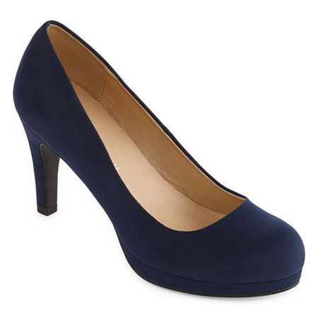 CL by Laundry Womens Nidia Round Toe Stiletto Heel Pumps, 8 1/2 Medium, Blue