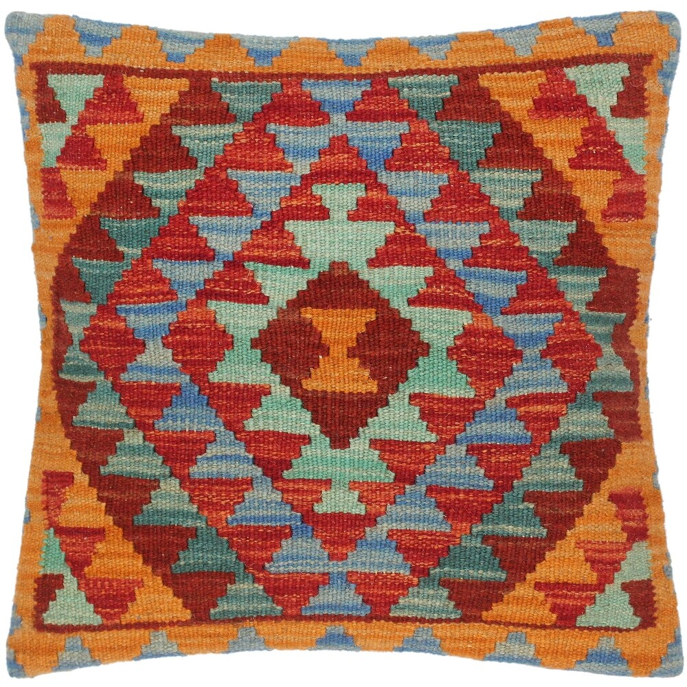 Shabby Chic Pedro Hand-Woven Turkish Kilim Pillow 16 in. x 16 in. (Accent - 16 in. x 16 in. - Polyester - Rust - Single)