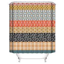 Duschvorhang mit Vintage Muster und 12 Haken