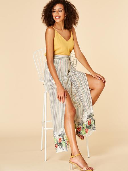YOINS White Self-tie Design Floral Print Wide Leg Pants