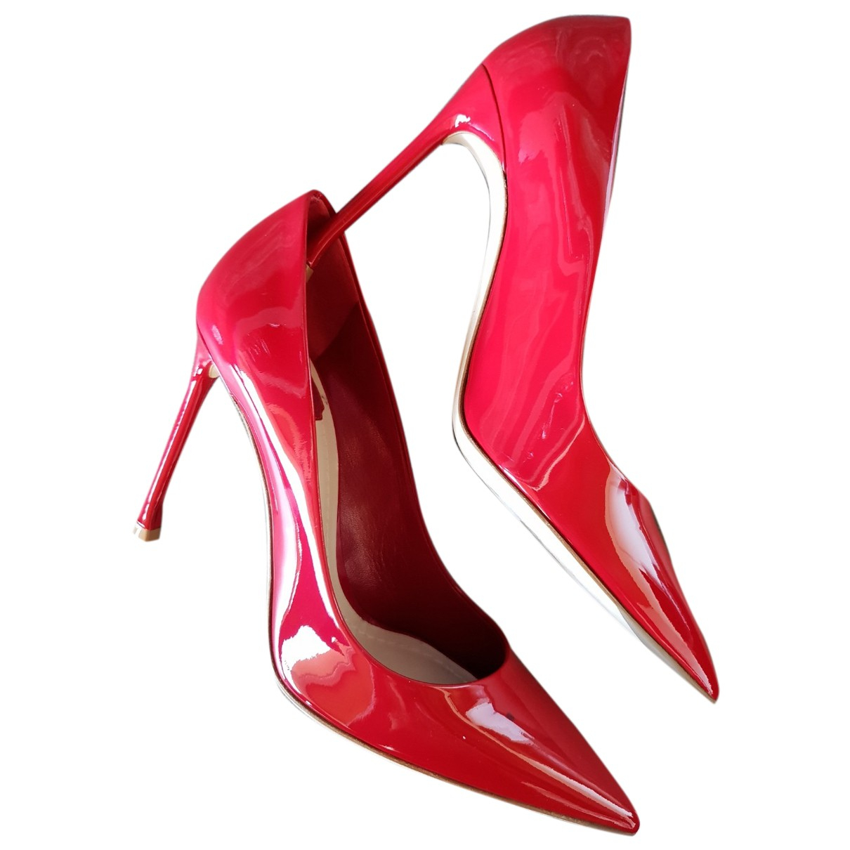 Dior Dior Cherie Pointy Pump Red Patent leather Heels for Women 38 EU