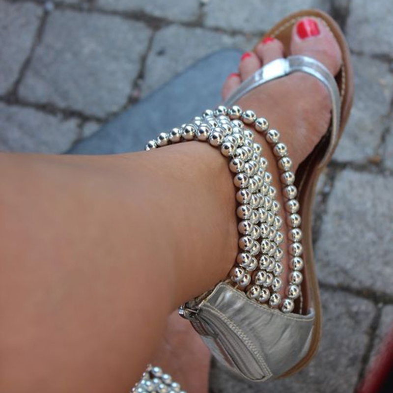 Ericdress Silver Beading Ankle Wrap Flat Sandals