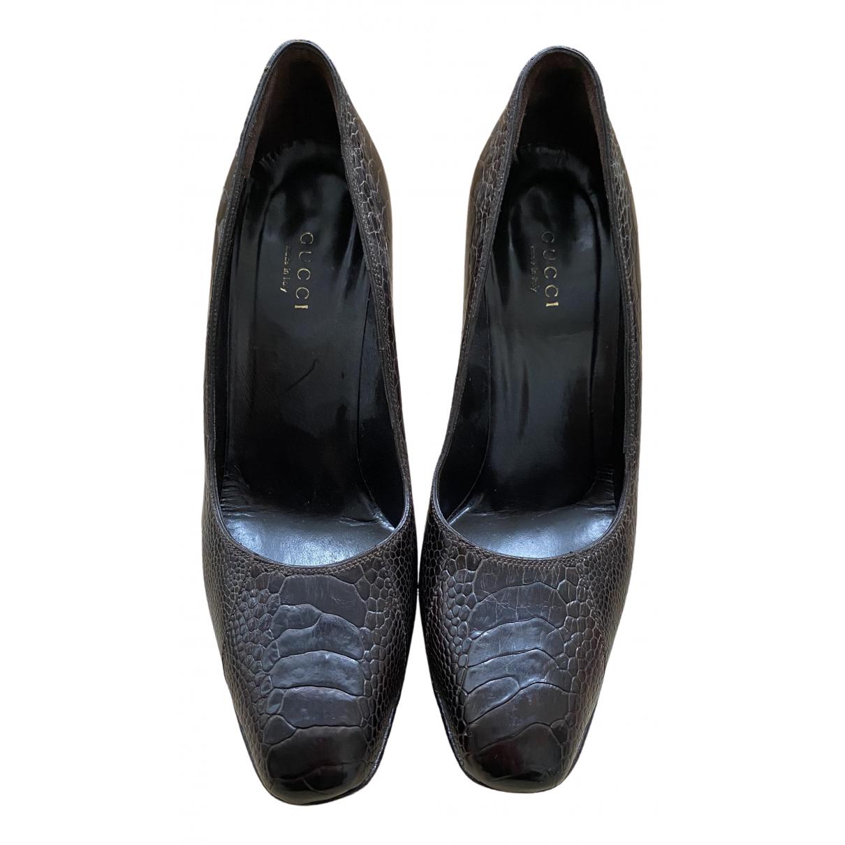 Gucci \N Brown Ostrich Heels for Women 36.5 EU