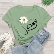 T-Shirt mit Gaensebluemchen & Buchstaben Grafik