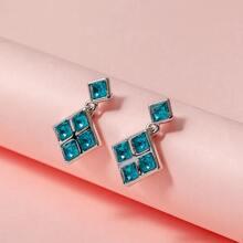 1 par pendientes geometricos grabados con diamante de imitacion