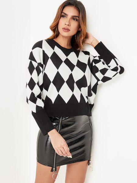 Yoins White & Black Diamond Check Long Sleeves Sweater
