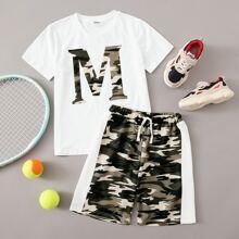 Top mit Buchstaben Grafik & Shorts mit Farbblock und Karo Muster Set