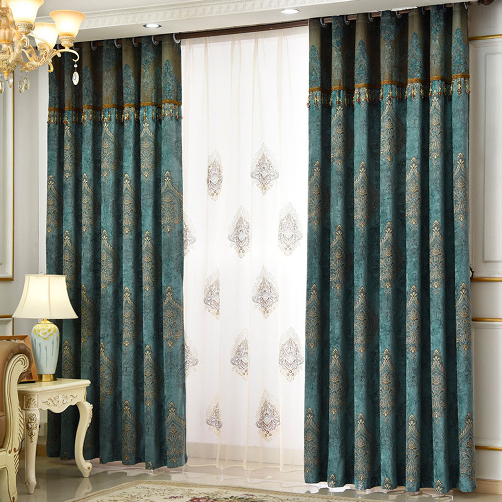 Vintage Jacquard Chenille Custom 2 Panles Blackout Curtain Drapes for Living Room No Pilling No Fading No off-lining