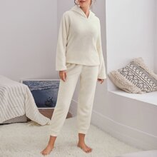 Teddy Solid Hooded Lounge Set