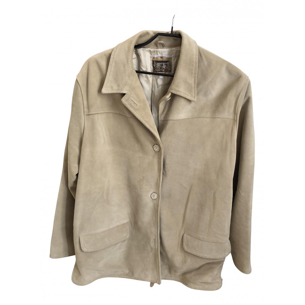 - Veste   pour femme en cuir - ecru
