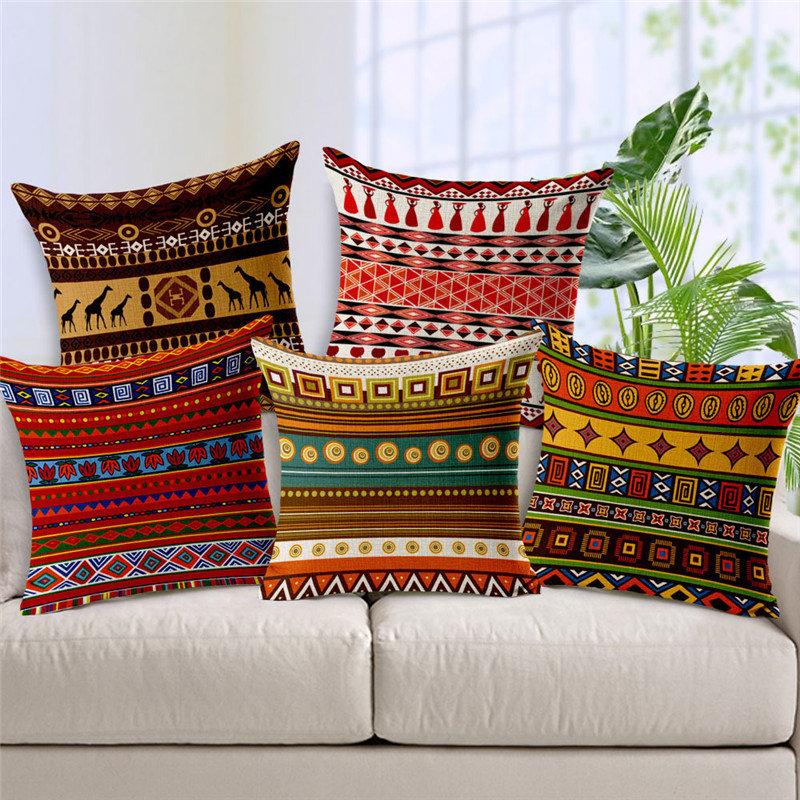 Bohemian Folk Geometrical Printed Linen Cotton Cushion Cover Home Sofa Decor Throw Pillow Cover