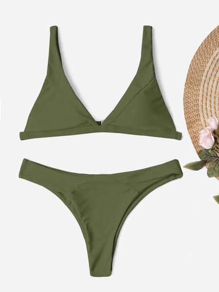 Yoins Army Green Spaghetti Bikini Set