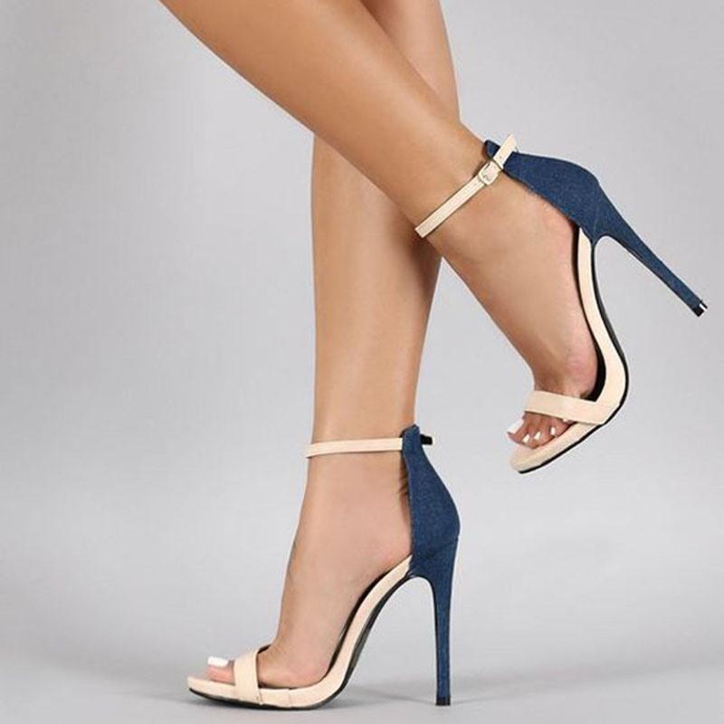 Ericdress Color Block Buckle Stiletto Sandals