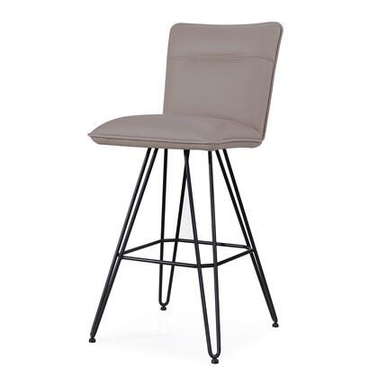 BM187627 Metal Leather Upholstered Bar Height Stool with Hairpin Style Legs Set of 2  Taupe and