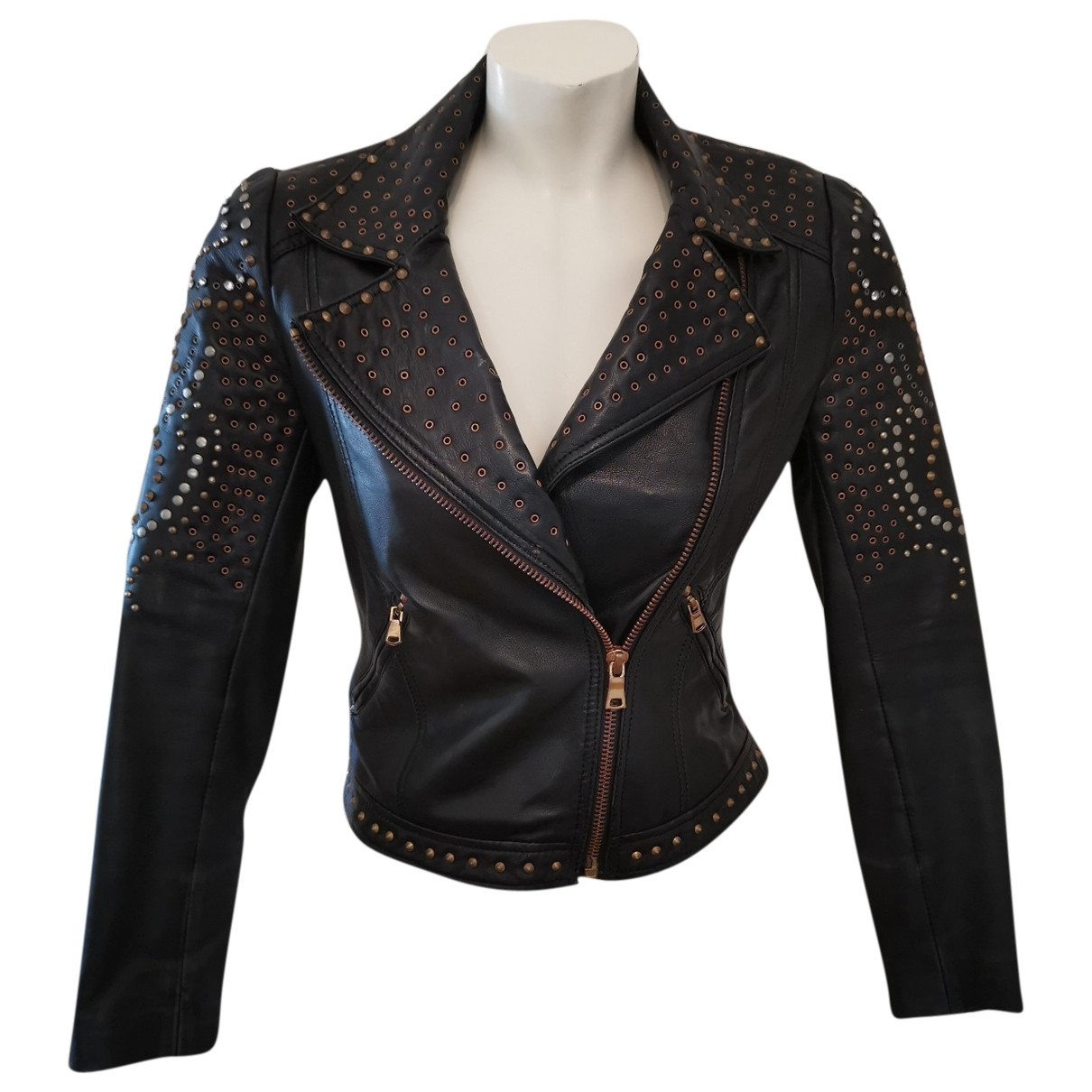 Zara \N Black Leather Leather jacket for Women M International