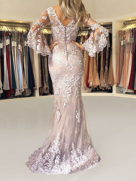 Milanoo Evening Dress Mermaid V Neck Long Sleeves Zipper Lace Satin Fabric Formal Party Dresses With Train