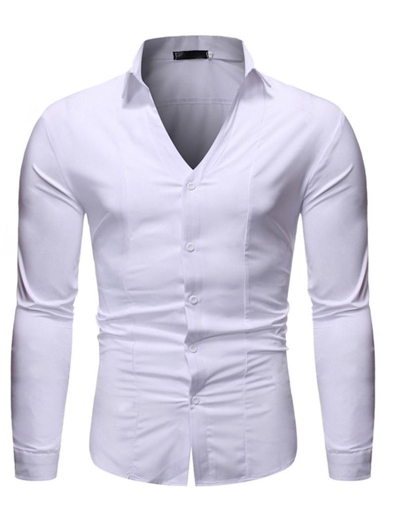 Ericdress Button Plain Lapel Slim Men's Single-Breasted Shirt