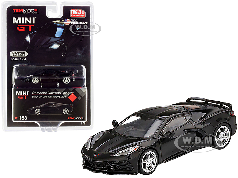 2020 Chevrolet Corvette Stingray C8 Black with Midnight Gray Stripe Limited Edition to 3000 pieces Worldwide 1/64 Diecast Model Car by True Scale Min