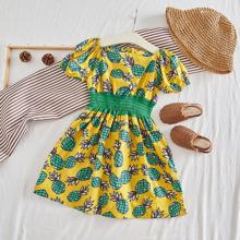 Toddler Girls Contrast Shirred Waist Pineapple Print A-line Dress