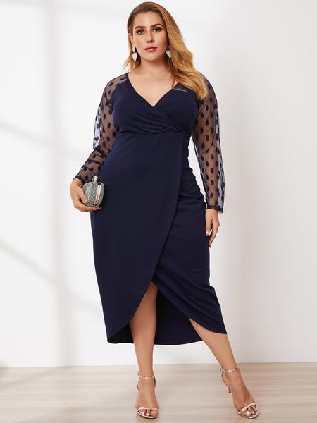 YOINS Plus Size V-neck Slit Design Polka Dot Mesh Maxi Dress