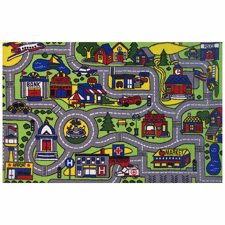 Driving Fun Rectangular Indoor Rugs, One Size , Green