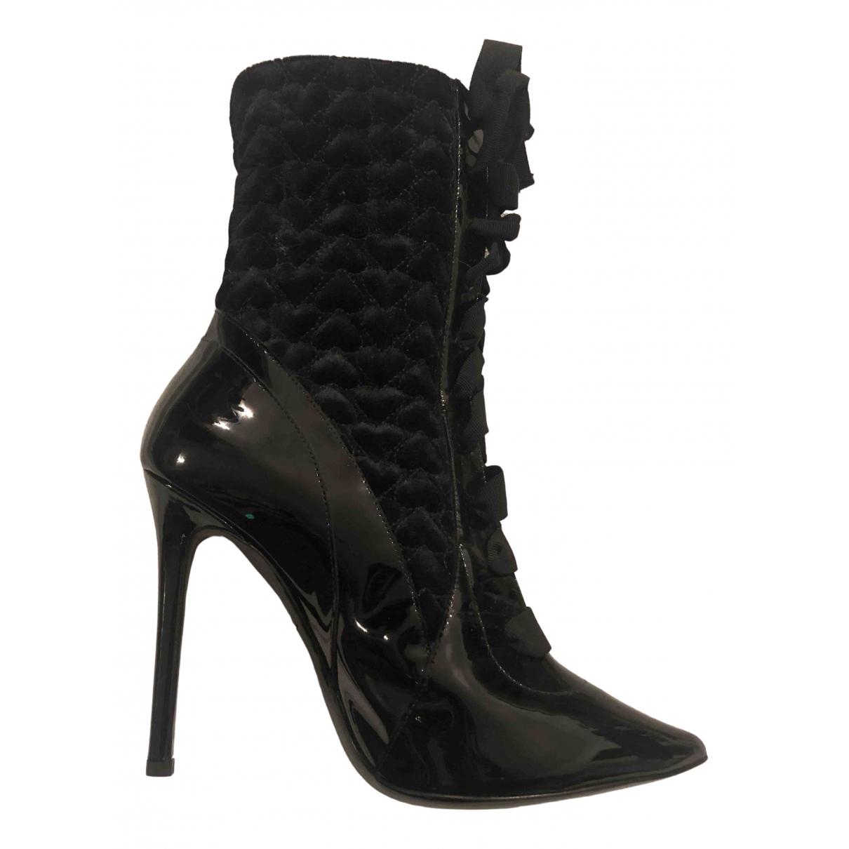 Aperlai - Bottes   pour femme en cuir verni - noir