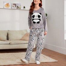 Panda & Slogan Embroidery Plush PJ Set