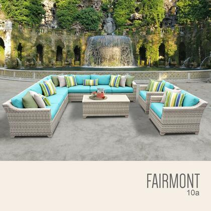 FAIRMONT-10a-ARUBA Fairmont 10 Piece Outdoor Wicker Patio Furniture Set 10a with 2 Covers: Beige and