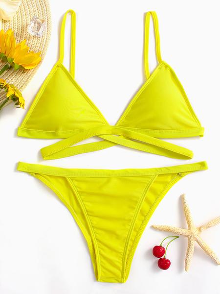 Yoins Yellow Spaghetti V-neck Sleeveless Bikini