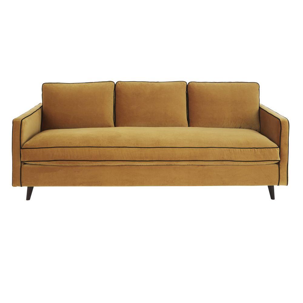 4-Sitzer-Schlafsofa mit senfgelbem Samtbezug und Matratze 10 cm Kant