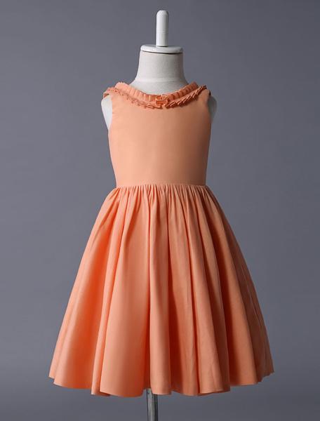 Milanoo Vestido de damitas con escote ovalado y botones sin mangas