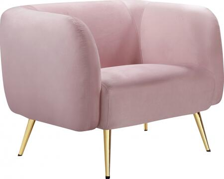 Harlow Collection 685PinkC 41 Velvet Chair with Stitched Detailing  Gold Metal Legs and Contemporary Design in