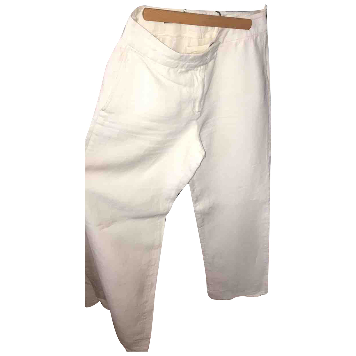 Loro Piana N White Linen Trousers for Women 44 IT