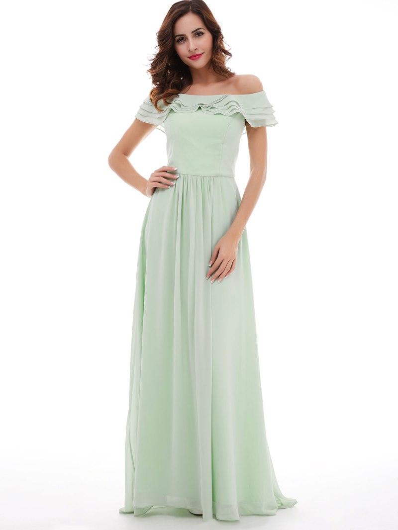 Ericdress Off-The-Shoulder Chiffon A-Line Long Prom Dress