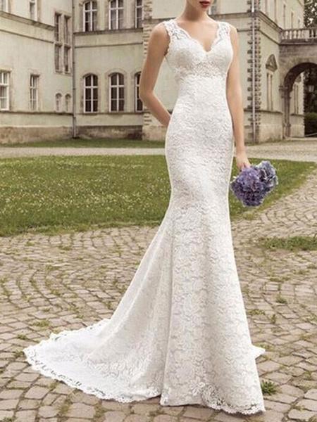 Milanoo Vestido de novia de encaje Sirena Escote en V Sin mangas Hasta el suelo Con tren Vestidos de novia de playa