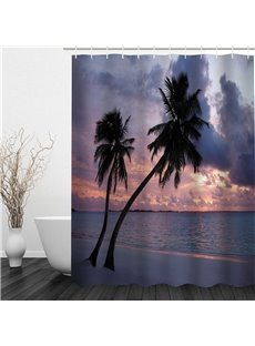 3D Palm on Beach in Sunset Polyester Waterproof and Eco-friendly Shower Curtain