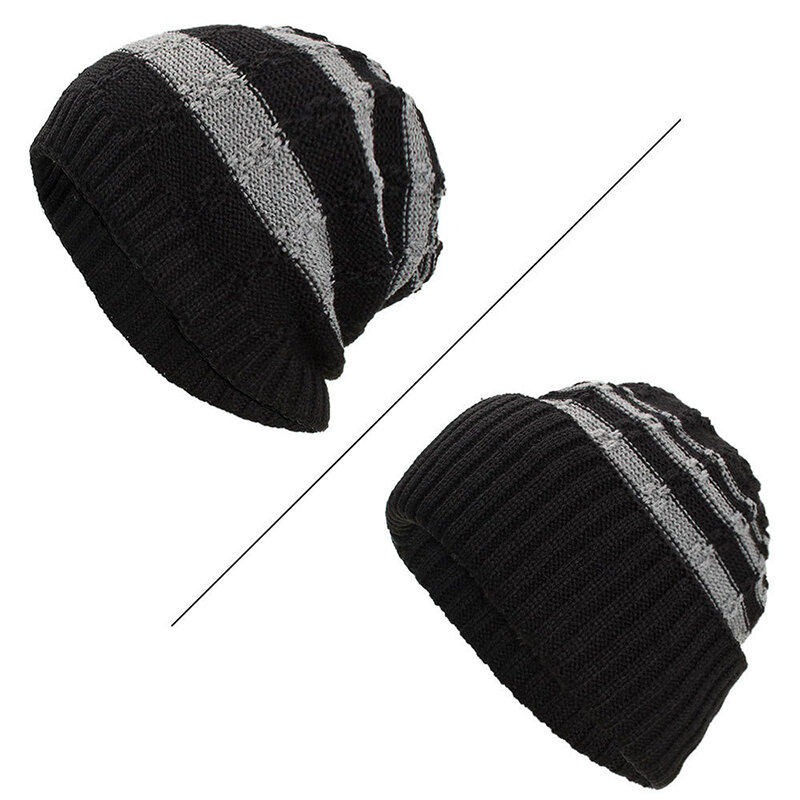 Mens Warm Winter Wool Velvet Knitted Hat Outdoor Casual Crimping Uncrimping Dual Use Beanie