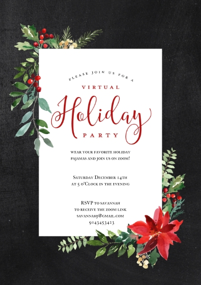 Christmas & Holiday Party Invitations 5x7 Cards, Premium Cardstock 120lb with Scalloped Corners, Card & Stationery -Holiday Virtual Invite Poinsettia