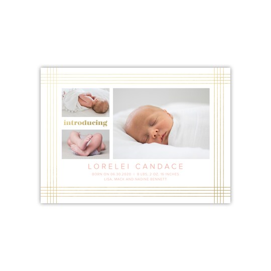 20 Pack of Gartner Studios® Personalized Foil Border Flat Baby Announcement in Salmon | 5
