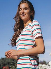Rainbow Striped Tee Dress