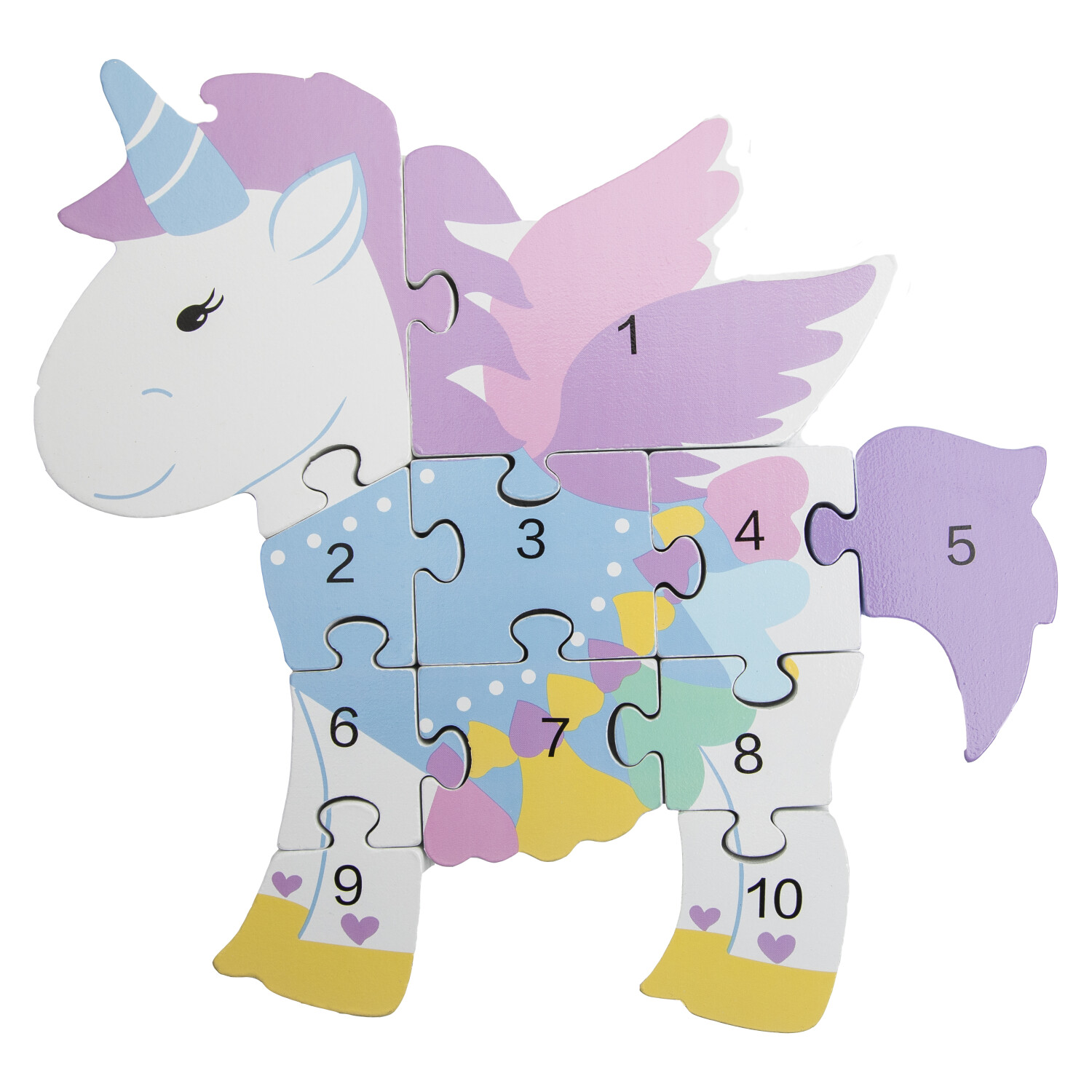 Orange Tree Toys Wooden Unicorn Number Puzzle from 1-10