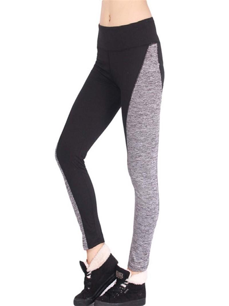 Ericdress Patchwork Color Block Mid-Waist Leggings Pants