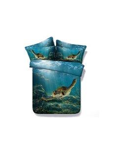 3D Swimming Turtle Blue Ocean Printed 5-Piece Comforter Sets