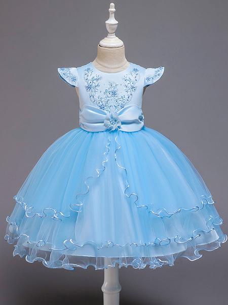 Milanoo Vestidos de niña de flores Cuello joya Mangas cortas Flores Vestidos de fiesta para niños