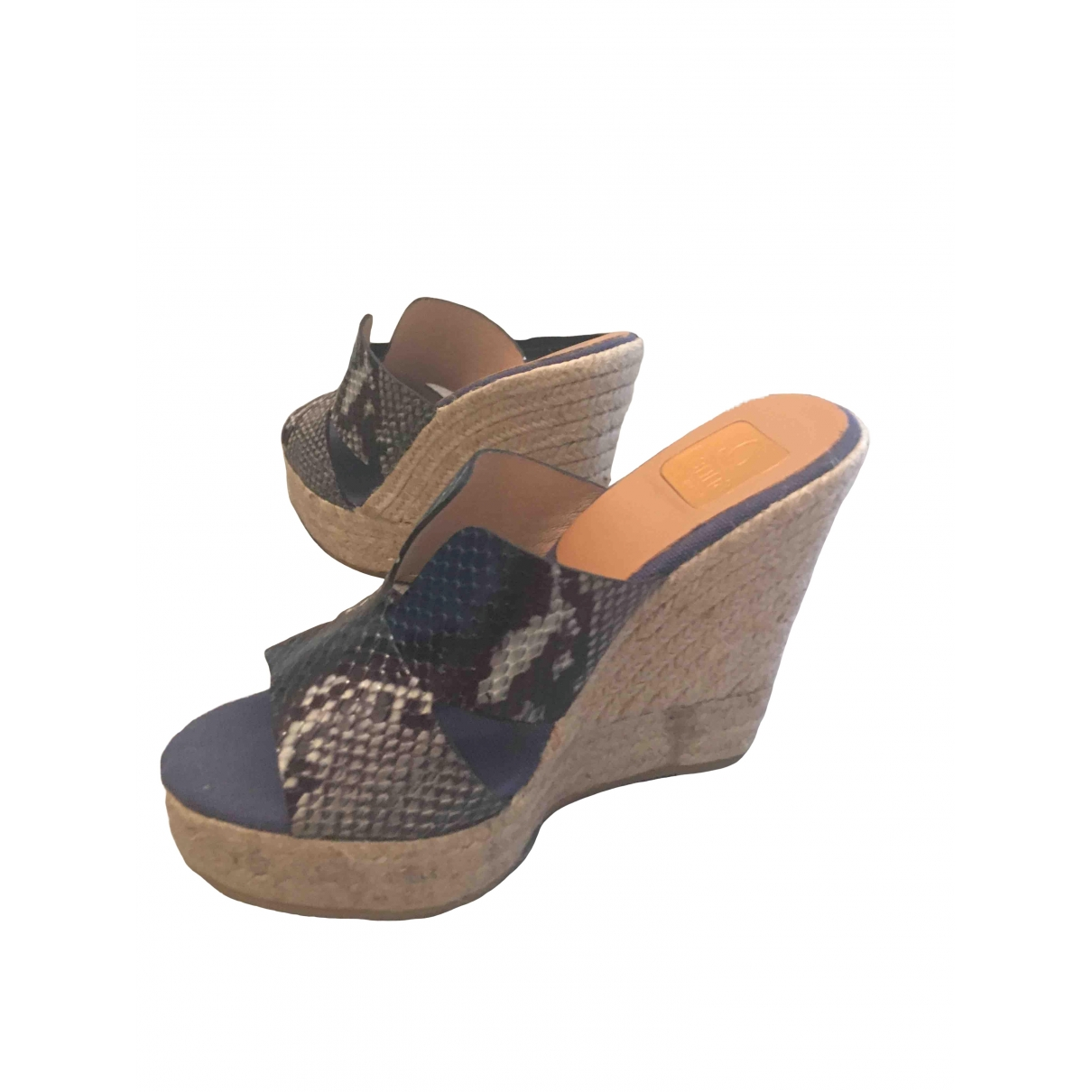 Non Signé / Unsigned \N Blue Leather Sandals for Women 36 EU