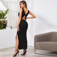 Strick Kleid mit Twist hinten und Schlitz