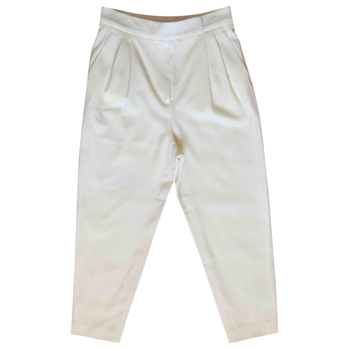Max Mara N White Wool Trousers for Women 40 IT